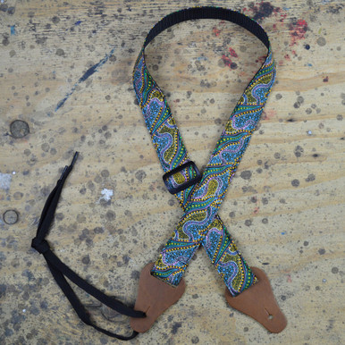 Aboriginal Art Rag Ukulele Strap - Women Collecting Water Green