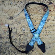 Aboriginal Art Rag Ukulele Strap - Yalke Wetlands Aqua