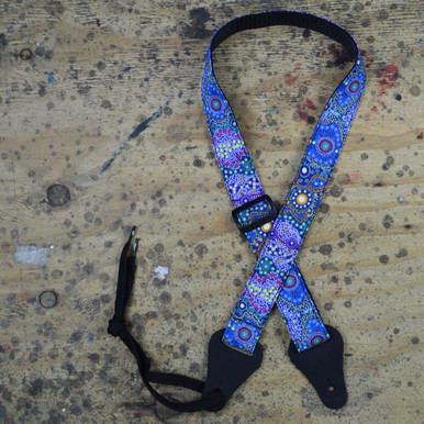Aboriginal Art Rag Ukulele Strap - Yalke Wetlands Purple