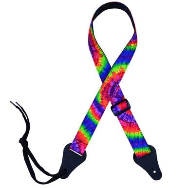 Multi-Coloured Tie Dye Rag Ukulele Strap