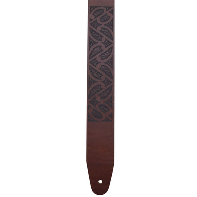 Tribal Laser Etched Leather Guitar Strap