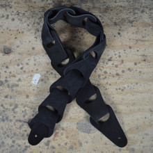 Black Suede Link Leather Guitar Strap