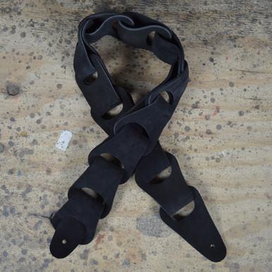 Black Suede Link Leather Guitar Strap