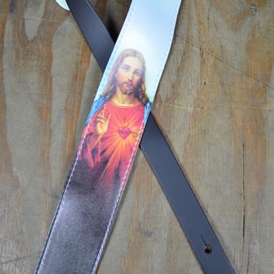 Printed Jesus Microfiber Leather Guitar Strap