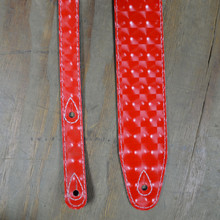 "2.5"" Suede Backed Red Hologram Guitar Strap"