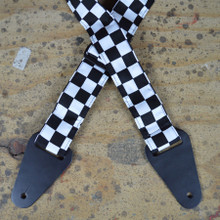 Black & White Check Rag Guitar Strap