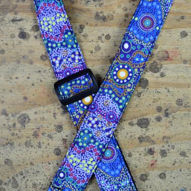 Aboriginal Art Guitar Strap - Yalke Blue