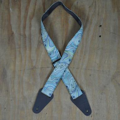 Aboriginal Art Guitar Strap - Aqua