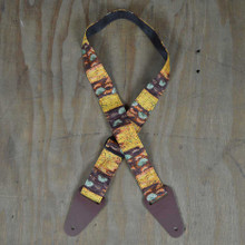 Aboriginal Art Guitar Strap - Yellow Bush