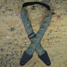 Aboriginal Art Guitar Strap - Spirit Dreaming Green
