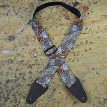 Aboriginal Art Guitar Strap - Bush Camp