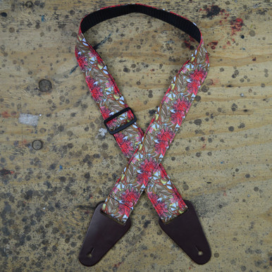 Aboriginal Art Guitar Strap - Red Gum Flower