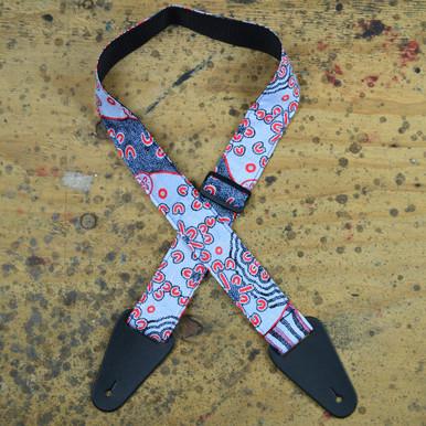 Aboriginal Art Guitar Strap - Blue Dot