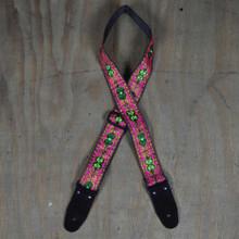 Pink Jacquard 50mm Webbing Guitar Strap