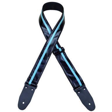 Stripe Rag Guitar Strap - Black with a Aqua Stripe