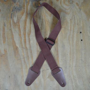 Brown Webbing with Heavy Duty Leather Ends Guitar Strap