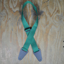 Dark Green Webbing with Heavy Duty Leather Ends Guitar Strap