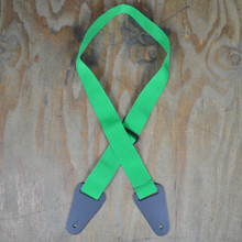 Lime Green Webbing with Heavy Duty Leather Ends Guitar Strap