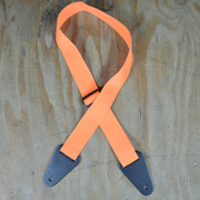 Orange Webbing with Heavy Duty Leather Ends Guitar Strap