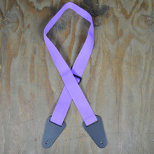 Purple Webbing with Heavy Duty Leather Ends Guitar Strap