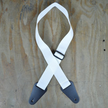 White Webbing with Heavy Duty Leather Ends Guitar Strap
