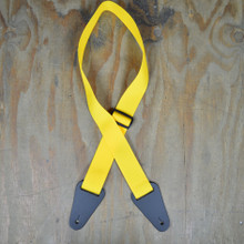 Yellow Webbing with Heavy Duty Leather Ends Guitar Strap