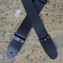 "2"" Black Soft Leather Slide Adjustable Guitar Strap"