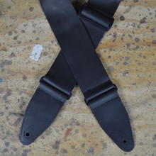 "3"" Black Soft Leather Slide Adjustable Guitar Strap"