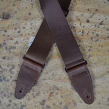 "3"" Brown Soft Leather Slide Adjustable Guitar Strap"