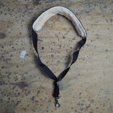 Black Leather Saxophone Strap with Lambs Wool Pad