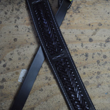 Black Soft Leather with Black Plait Guitar Strap