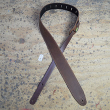 "2.5"" Sueded Brown Soft Leather Guitar Strap"