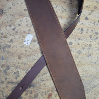 "3.5"" Sueded Brown Soft Leather Guitar Strap"