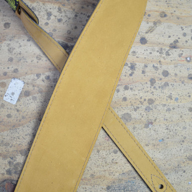 "3.5"" Sueded Tan Soft Leather Guitar Strap"