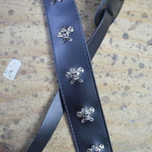 "2.5"" Black Leather with Skull & Spanner Feature Guitar Strap"