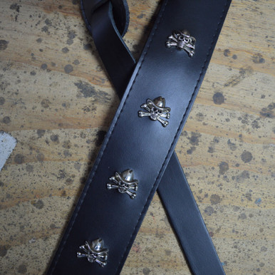 """2.5"""" Black Leather with Skull and Hat Feature Guitar Strap"""