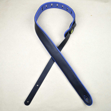 "2.0"" Padded Upholstery Leather Guitar Strap Black & Blue"