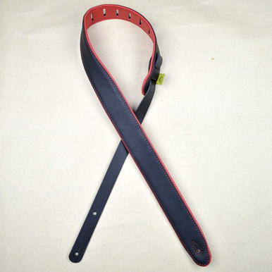 "2.0"" Padded Upholstery Leather Guitar Strap Black & Red"