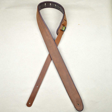 """2.0"""" Padded Upholstery Leather Guitar Strap Tan & Brown"""