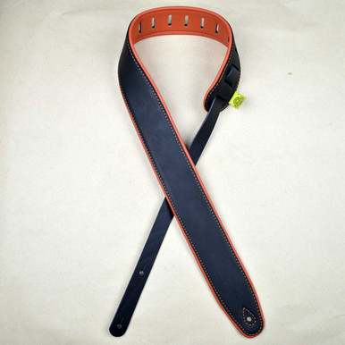 "2.5"" Padded Upholstery Leather Guitar Strap Black & Orange"