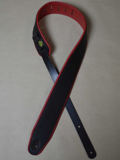 """2.5"""" Padded Upholstery Leather Guitar Strap Black & Red"""