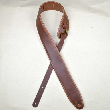 "2.5"" Padded Upholstery Leather Guitar Strap Brown & Tan"