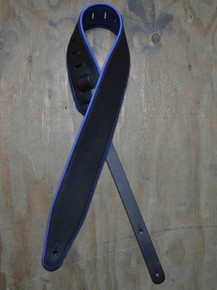 "3.0"" Padded Upholstery Leather Guitar Strap Black & Blue"