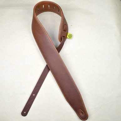 "3.0"" Padded Upholstery Leather Guitar Strap Brown & Tan"