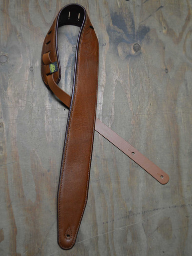 "3.0"" Padded Upholstery Leather Guitar Strap Tan & Brown"