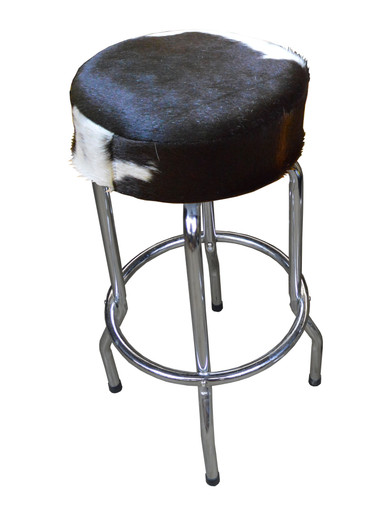 Genuine Hair On Cowhide Leather Tall Guitar Stool