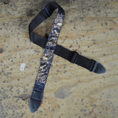 Skull & Rose Grey Tattoo Rag Guitar Strap