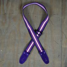 Purple 50mm Striped Webbing Guitar Strap