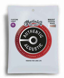 MARTIN AUTHENTIC TREATED, CUSTOM LIGHT, 11-52 ACOUSTIC GUITAR STRINGS