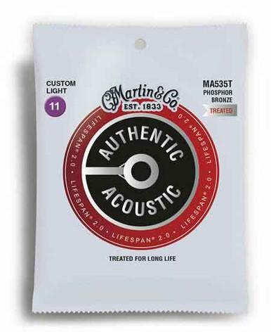 MARTIN AUTHENTIC TREATED, CUSTOM LIGHT, 11-52 ACOUSTIC GUITAR STRINGS